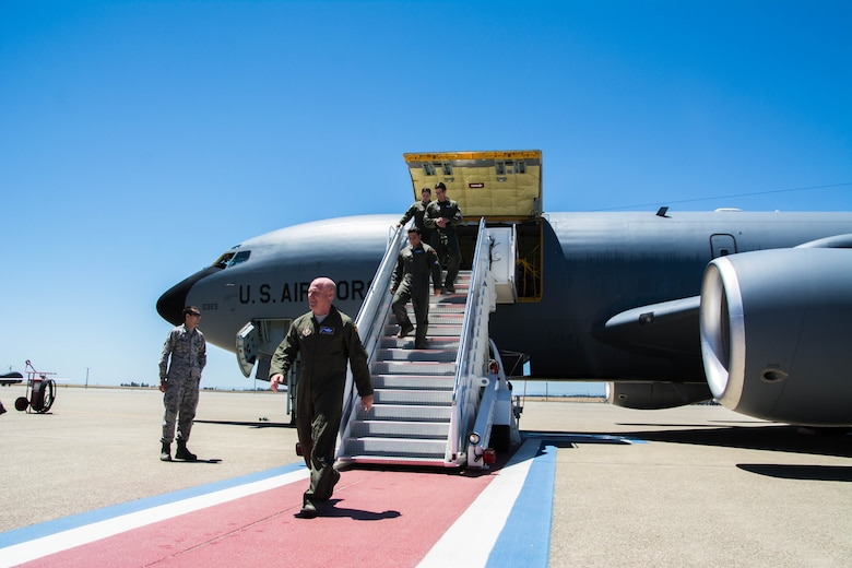 Col. Richard Heaslip, 940th Operations Group commander, along with his crew steps off the first of eight KC-135 Stratotankers to arrive at Beale Air Force Base, California on July 10, 2016. The 940th Air Refueling Wing was re-designated from the 940th Wing during an official ceremony on June 4, 2016. The seven remaining KC-135 aircraft are anticipated to arrive in the next coming months. (Courtesy photo by John L. Brackens)