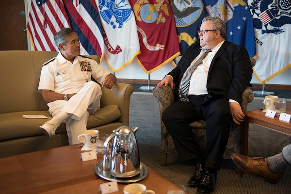 (July 22, 2016) -  Commander of U.S. Pacific Command (USPACOM), Adm. Harry B. Harris Jr., right, meets with New Zealand Minister of Defense Gerry Brownlee at USPACOM headquarters during Brownlee's visit here. Harris met with Brownlee at the USPACOM headquarters to discuss the security environment in the Indo-Asia-Pacific and planned ongoing activities in the USPACOM area of responsibility, including the United States Government's plan to conduct its first U.S. Navy ship visit to New Zealand in over three decades as part of the International Fleet Review associated with the Royal New Zealand Navy's 75th anniversary celebration in November 2016. (DoD photo by Chief Mass Communication Specialist Patrick Dille)