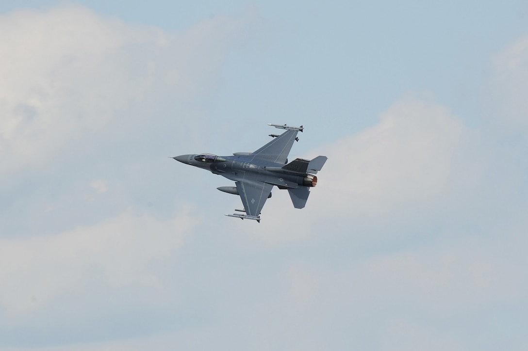 An F-16 Fighting Falcon aircraft from the 140th Wing, Colorado Air National Guard, is in flight over Pápa Air Base, Pápa, Hungary in support of Operation Panther Strike after returning from a training mission in eastern Europe. In conjunction with Operation Atlantic Resolve, the 140th Wing, Colorado Air National Guard from Buckley Air Force Base, Colorado, has deployed approximately 200 Airmen to Pápa Air Base, Hungary, to conduct familiarization training alongside our NATO ally, Hungary. They will also participate in cross-border training with other deployed U.S. forces' aircraft and NATO aircraft in the region. This deployment continues to demonstrate our commitment to our allies and European security and stability. (U.S. Air National Guard photo by Senior Master Sgt. John Rohrer)
