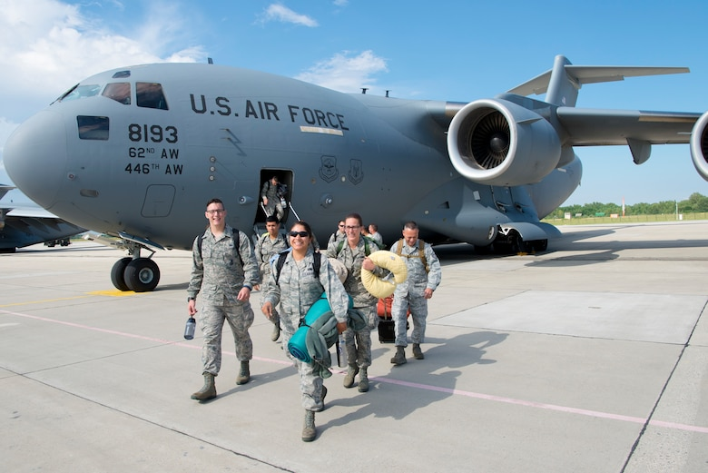 Airmen from the 140th Wing, Colorado Air National Guard, at Buckley Air Force Base, Colorado, arrive at Papa Air Base, Papa, Hungary, on a C-17 cargo aircraft in support of Operation Atlantic Resolve. The Colorado Air National Guard has deployed approximately 200 Airmen to Papa Air Base to conduct familiarization training alongside our NATO ally, Hungary. They will also participate in cross-border training with other deployed U.S. forces' aircraft and NATO aircraft in the region such as Slovenia, Slovakia and the Czech Republic. This deployment continues to demonstrate our commitment to our allies and European security and stability. (U.S. Air National Guard photo by Senior Master Sgt. John Rohrer)
