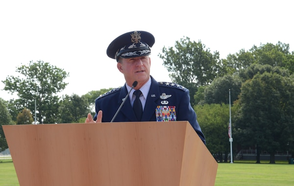 Gen. David L. Goldfein, chief of staff of the U.S. Air Force, provides remarks during the promotion ceremony of U.S. Air Force Gen. Stephen W. Wilson, U.S. Strategic Command deputy commander, at Offutt Air Force Base, Neb., July 22, 2016. Goldfein, who presided over the ceremony, said that Wilson had the competence and character required to be promoted to the rank of general and hold the position of 39th vice chief of staff of the U.S. Air Force. Wilson, a command pilot with more than 4,500 flying hours and 680 combat hours, has been at USSTRATCOM since July 2015. He previously served as the Air Force Global Strike Command commander. One of nine DoD unified combatant commands, USSTRATCOM has global strategic missions assigned through the Unified Command Plan, which include strategic deterrence; space operations; cyberspace operations; joint electronic warfare; global strike; missile defense; intelligence, surveillance and reconnaissance; combating weapons of mass destruction; and analysis and targeting. (USSTRATCOM photo by Master Sgt. April Wickes)