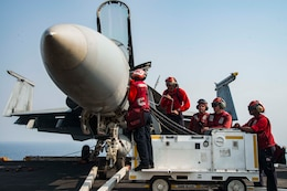 Aviation Ordnancemen load ordnance into an F/A-18E Super Hornet assigned to the Gunslingers of Strike Fighter Squadron (VFA) 105 on the flight deck of the aircraft carrier USS Dwight D. Eisenhower (CVN 69) in preparation for a mission in support of Operation Inherent Resolve. Dwight D. Eisenhower and its carrier strike group are deployed in support of Operation Inherent Resolve, maritime security operations and theater security cooperation efforts in the U.S. 5th Fleet area of operations.