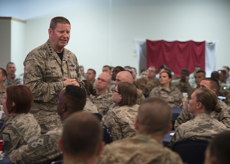 Gen. Robin Rand, AFGSC commander, talks with 90th Missile Wing Airmen about the importance of diversity, respect and camaraderie during an Enlisted Professional Development lunch, July 22, 2016, at F.E. Warren AFB, Wyo. Earlier that morning, Rand spoke with first-term Airmen about adhering to the core values. (U.S. Air Force photo by Senior Airman Malcolm Mayfield)