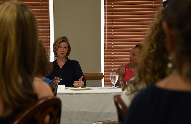 Kim Rand, wife of AFGSC Commander Gen. Robin Rand, talks with 90th Missile Wing key spouses about the importance of the program at Air Force bases July 22, 2016, during a luncheon on F.E. Warren Air Force Base, Wyo. Rand expressed a gratitude towards those who volunteer to help make their squadrons and groups a better place for new spouses. (U.S. Air Force photo by Senior Airman Brandon Valle)