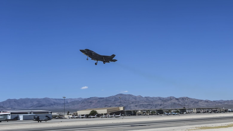 An F-35B Lightning II with Marine Fighter Attack Squadron 121 takes off during exercise Red Flag 16-3 at Nellis Air Force Base, Nevada, July 20. This is the first time that the fifth generation fighter has participated in the multiservice air-to-air combat training exercise.