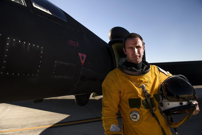 Capt. Arthur Bull, a U-2 pilot from 99th Reconnaissance Squadron, in his pressured space suit at Nellis Air Force Base, Nevada during exercise Red Flag. Airmen from Beale Air Force Base, California traveled out to Red Flag for the fist time since the mid 1990s--typically the aircraft flies exercise missions out of their home station. Red Flag 16-3 is aimed at teaching service members how to integrate air, space and cyberspace elements. (U.S. Air Force photo/Tech. Sgt. David Salanitri)