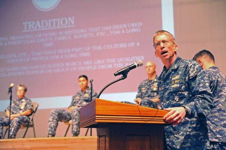 YOKOSUKA, Japan (July 21, 2016) U.S. 7th Fleet Chaplain Capt. Cameron Fish monitors a discussion panel on tradition at 7th Fleet's first Leadership, Equality, and Diversity (LEAD) symposium on Yokosuka Naval Base. The LEAD symposium focused on cultivating leadership and understanding of equality and diversity issues in the Navy. (U.S. Navy photo by Mass Communication Specialist 2nd Class Indra Bosko/Released)