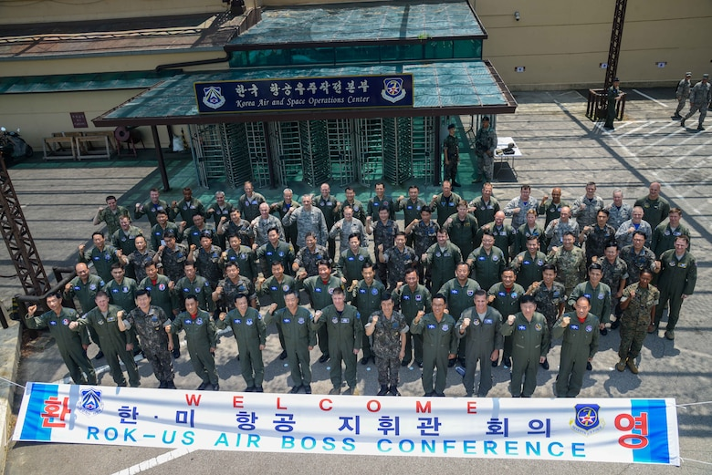 Senior leaders from the Combined Forces Command gather for a group photo for the 2016 CFC Air Boss Conference July 22, 2016, at Osan Air Base, Republic of Korea. Eighty-one senior leaders, including 24 general officers from all branches of the Republic of Korea, United States and alliance forces, discussed airpower strategies in the Pacific region during the conference. (U.S. Air Force photo by Senior Airman Dillian Bamman/Released)