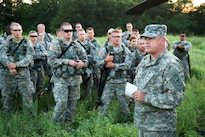 U.S. Army National Guard 1st Sgt. Patrick Deuberry, F Company, 2-238th General Support Aviation Battalion, West Bend, Wis., instructs soldiers under the 330th Medical Brigade on Medical Evacuation procedures during Warrior Exercise 86-16-03 at Fort McCoy, Wis., July 14, 2016. WAREX is designed to keep soldiers all across the United States ready to deploy. Army photo by Sgt. Robert Farrell