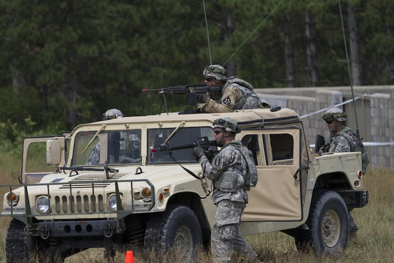 FORT MCCOY, Wis.--Soldiers from the 320th Military Police Company, St. Petersburg, Fla. scan their sectors of fire from a high mobility multi-purpose wheeled vehicle as part of the quick reaction force in a mass casulaty scenario during Warrior Exercise 2016. More than 92 units from across the U.S Army Reserve, Army National Guard and Active Army are participating in the 84th Training Command's third and final Warrior Exercise of the year. WAREX 86-16-03, hosted by the 86th Training Division here.  (U.S Army Photo by Sgt. Devin M. Wood)