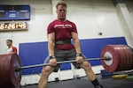 Marine Corps Sgt. Ryan King, section chief for Kilo Battery, 3rd Battalion, 11th Marine Regiment, conducts a deadlift at the Marine Corps Air Ground Combat Center in Twentynine Palms, Calif., July 14, 2016. Marine Corps photo by Lance Cpl. Levi Schultz