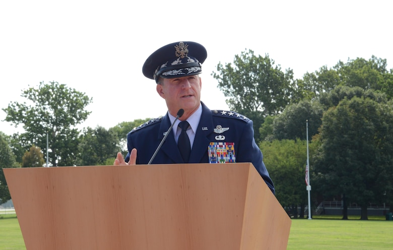 Air Force Chief of Staff Gen. David L. Goldfein provides remarks during the promotion ceremony of Gen. Stephen W. Wilson, the U.S. Strategic Command deputy commander, at Offutt Air Force Base, Neb., July 22, 2016. Goldfein, who presided over the ceremony, said that Wilson had the competence and character required to be promoted to the rank of general and hold the position of 39th vice chief of staff of the Air Force. (U.S. Air Force photo/Master Sgt. April Wickes)