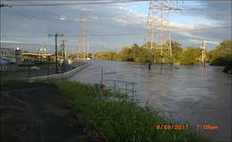 Floodwall located near Brook Industrial Complex in the Borough of Bound Brook, New Jersey during Hurricane Irene in 2011.