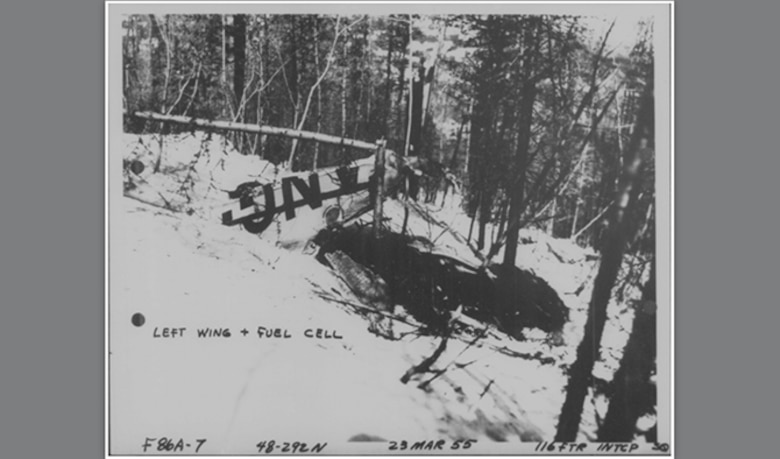 The Washington National Guard F-86 Sabre crash site March 23, 1955, near Timber Mountain, Colville National Forest. Maj. John C. Seeley, ejected from the jet at an altitude of approximately 12,000 after fighting a tight downward spin during the descent. (Courtesy Photo)