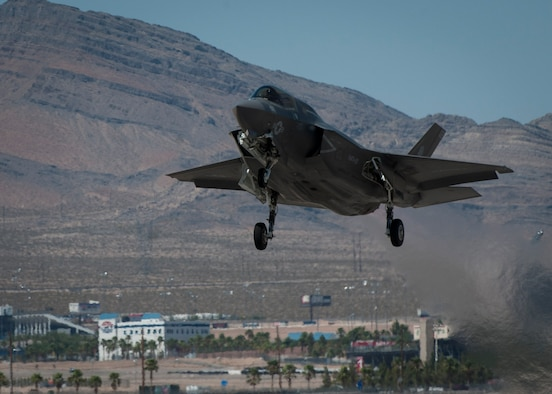 An F-35B from Marine Corps Air Station, Yuma, Ariz., takes off from the Nellis Air Force Base, Nev., flightline to participate in a training sortie during Red Flag 16-3, July 19, 2016. This is the first time an F-35 has participated in Red Flag as it works to be initial operational capable across all military platforms. (U.S. Air Force photo by Senior Airman Jake Carter/Released)