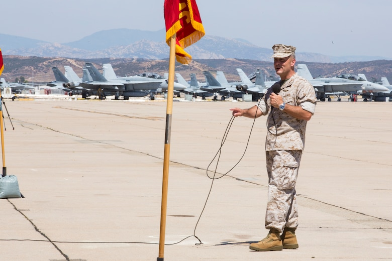 Maj. Gen. Michael Rocco, outgoing commanding officer of 3rd Marine Aircraft Wing, speaks to the guests of the change of command ceremony aboard Marine Corps Air Station Miramar, Calif., July 22. Rocco relinquished command to Maj. Gen. Mark Wise, who came from serving as deputy commander of U.S. Forces Japan. (U.S. Marine Corps photo by Pfc. Jake McClung/Released)