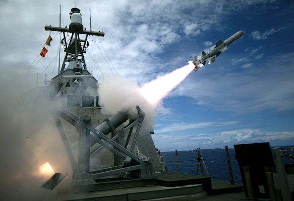 PACIFIC OCEAN (July 19, 2016) USS Coronado (LCS 4), an Independence-variant littoral combat ship, launches the first over-the-horizon missile engagement using a Harpoon Block 1C missile. Twenty-six nations, 40 ships and submarines, more than 200 aircraft and 25,000 personnel are participating in RIMPAC from June 30 to Aug. 4, in and around the Hawaiian Islands and Southern California. The world's largest international maritime exercise, RIMPAC provides a unique training opportunity that helps participants foster and sustain the cooperative relationships that are critical to ensuring the safety of sea lanes and security on the world's oceans. RIMPAC 2016 is the 25th exercise in the series that began in 1971.
