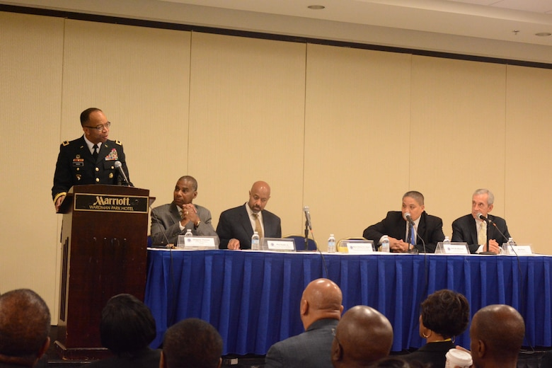WASHINGTON - Maj. Gen. A.C. Roper, commanding general of the 80th Training Command, delivers the welcoming remarks during the CEO Symposium at the National Organization of Black Law Enforcement Executives 40th Anniversary Training Conference and Exhibition held in the District of Columbia July 16-20, 2016. Roper, as a civilian, is the Birmingham, Ala., police chief with more than 30 years of law enforcement experience.