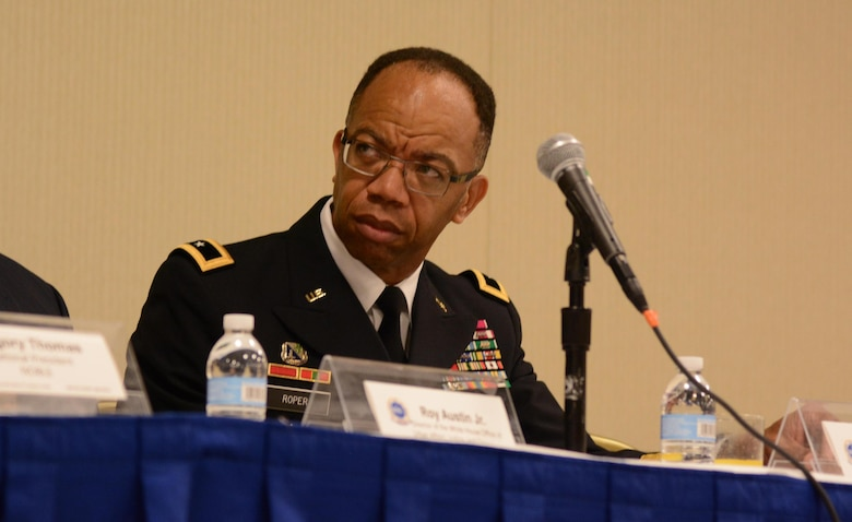 WASHINGTON - Maj. Gen. A.C. Roper, commanding general of the 80th Training Command, listens to a presentation as a member of the Blue Courage leadership panel during the National Organization of Black Law Enforcement Executives 40th Anniversary Training Conference and Exhibition held in the District of Columbia July 16-20, 2016. Roper as a civilian, is the Birmingham, Ala., police chief with more than 30 years of law enforcement experience.