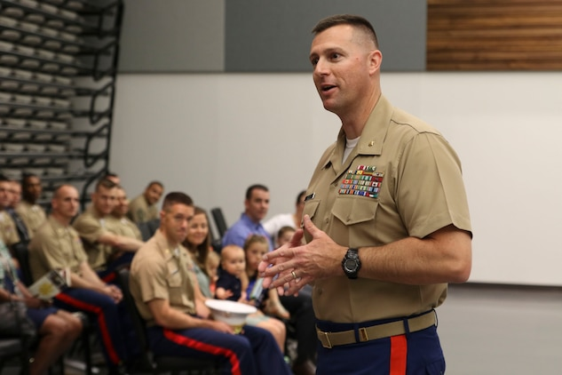 U.S. Marine Corps Maj. Paul B. Bock gives his thanks and final words of wisdom during Recruiting Station Frederick's change of command ceremony June 28, 2016 at Fort Detrick. Bock relinquished command to Maj. Luke A. Sauber during the ceremony.