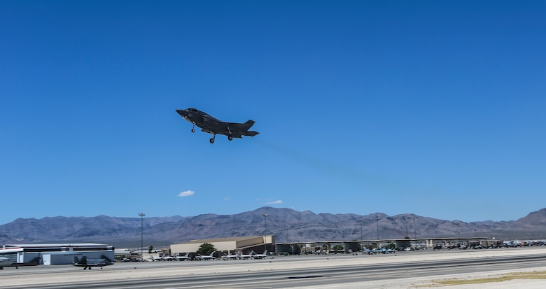 An F-35B Lightning II with Marine Fighter Attack Squadron (VMFA) 121 takes off during exercise Red Flag 16-3 at Nellis Air Force Base, Nev., July 20. This is the first time that the fifth generation fighter has participated in the multiservice air-to-air combat training exercise. (U.S. Marine Corps photo by Lance Cpl. Harley Robinson/Released)