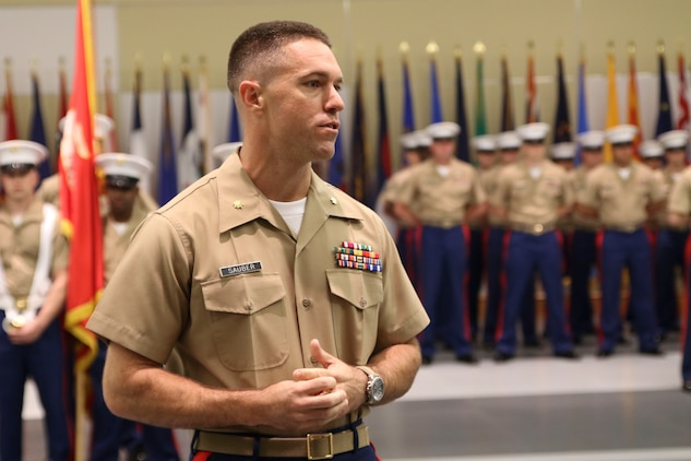 U.S. Marine Corps Maj. Luke A. Sauber gives his thanks and remarks during Recruiting Station Frederick's change of command ceremony June 28, 2016 at Fort Detrick. Sauber is the incoming commanding officer for the recruiting station while Maj. Paul B. Bock is the outgoing commanding officer.