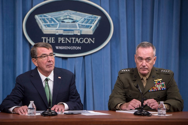 Defense Secretary Ash Carter and Marine Corps Gen. Joe Dunford, chairman of the Joint Chiefs of Staff, speak with reporters at the Pentagon, July 25, 2016. DoD photo by Navy Petty Officer 1st Class Tim D. Godbee