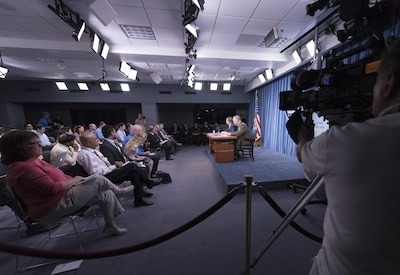 Defense Secretary Ash Carter and Marine Corps Gen. Joe Dunford, chairman of the Joint Chiefs of Staff, hold a news conference at the Pentagon, July 25, 2016. Carter and Dunford discussed the situation in Iraq and Syria and ways to measure success in the region. DoD photo by Navy Petty Officer 2nd Class Dominique A. Pineiro