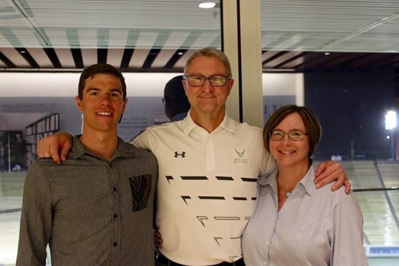 Josh Prenot, University of California Berkeley Physics major and swimmer, Bill Prenot, 30th Space Wing director of plans and programs and Josh's father, and Tammy Prenot, piano teacher and Josh's mother, take a photo together after a sports banquet, April 30, 2016, Berkeley, Calif. Josh recently qualified for the Olympic Games in Rio de Janeiro after breaking an American record in the men's 200-meter breaststroke. (courtesy photo)