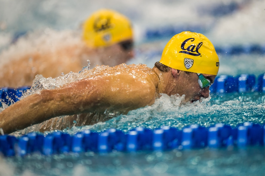 Josh Prenot, University of Calfornia Berkeley Physics major and swimmer, performs a butterfly stroke during the NCAA Championships, March 23 to 26, Atlanta, Ga. Pernot recently qualified for the Olympic Games in Rio de Janeiro after breaking an American record in the men's 200-meter breaststroke. (Photo by: Peter H. Bick/Swimming World Magazine)
