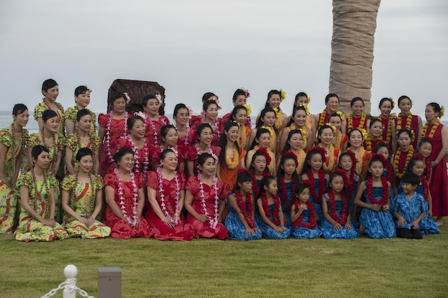 The hula dancers of the U.S. – Japan Luau Party pose for a group picture on Oshima Island, Japan, July 23, 2016. Residents of Marine Corps Air Station Iwakuni visited the island of Oshima to join in celebration of the island's history and the bond between the U.S. and Japan. (U.S. Marine Corps photo by Cpl. Nathan Wicks)