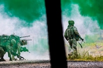 Army infantrymen advance through a smoke screen during live-fire training at the Joint Readiness Training Center, Fort. Polk, La., July 25, 2016. The Infantrymen are assigned to the New York Army National Guard's Co. C, 1st Battalion, 69th Infantry Regiment. Army National Guard photo by Sgt. Harley Jelis
