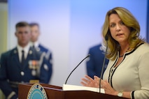 Secretary of the Air Force Deborah Lee James speaks during Anthony Duno's retirement ceremony at the Pentagon in Washington, D.C., July 22, 2016. Duno leaves federal service after 70 years, beginning with being drafted into the Army in 1943. Duno accepted his first civil service position as an administrative and logistical officer in the Army Exchange Service in 1947.  (U.S. Air Force photo/Scott M. Ash)