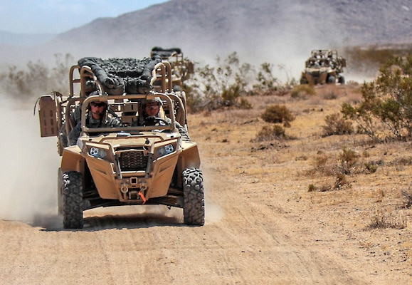 Paratroopers with the 82nd Airborne Division operate ultra-light combat vehicles during a training exercise at the National Training Center at Fort Irwin, California, Aug. 11, 2015. Defense Logistics Agency Troop Support's Construction and Equipment supply chain will provide the vehicles to the 82nd Airborne's Global Response Force. Photo by Army Staff Sgt. Jason Hull