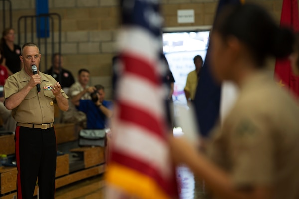 Brig. Gen. Kevin J. Killea, commanding general of Marine Corps Installations West and Marine Corps Base Camp Pendleton, delivers the opening remarks for the 2016 Conseil International Du Sport Militaire (CISM) World Military Women's Basketball Championship tournament July 25 at Camp Pendleton, California. Camp Pendleton is hosting the CISM World Military Women's Basketball Championship July 25 through July 29 to the opportunity for high-caliber U.S. service member athletes to be positively engaged with their peers from nations around the globe. (U.S. Marine Corps photo by Sgt. Abbey Perria)