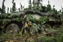 Canadian Army Maj. Chelsea Anne Braybrook, commander of Bravo Company, 1st Battalion, Princess Patricia's Canadian Light Infantry, walks past her Coyote Armoured Vehicle in Donnelly Training Area near Ft. Greely, Alaska, during the Arctic Anvil exercise, Sunday, July 24, 2016.  Arctic Anvil is a joint, multinational exercise which includes forces from USARAK's 1st Stryker Brigade Combat Team, 25th Infantry Division and UATF, along with forces from the 196th Infantry Brigade's Joint Pacific Multinational Readiness Capability, the Iowa National Guard's 133rd Infantry Regiment and the 1st Battalion, Princess Patricia's Canadian Light Infantry. (U.S. Air Force photo/Justin Connaher)