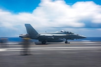 An F/A-18F Super Hornet assigned to Strike Fighter Squadron 41 launches from the flight deck of the USS John C. Stennis during Rim of the Pacific 2016 in the Pacific Ocean, July 19, 2016. Navy photo by Petty Officer 3rd Class Kenneth Rodriguez Santiago