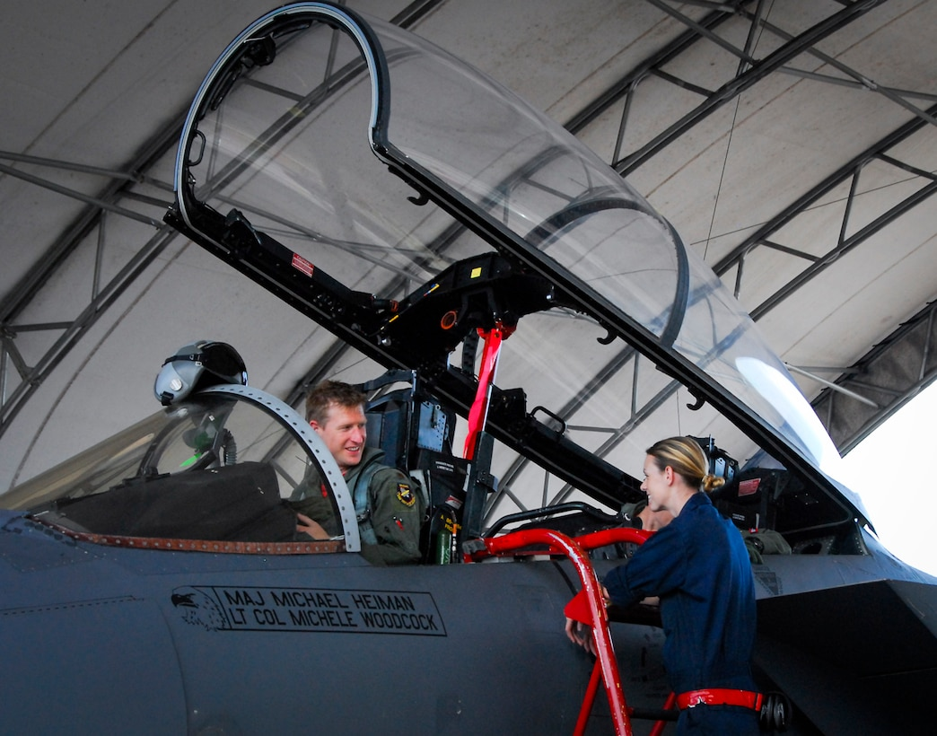 Maj. Justin Elliott, 40th Flight Test Squadron F-15 flight commander, prepares to deplane after he piloted the first F-15 equipped with the Advanced Display Core Processor II July 8 at Eglin Air Force Base, Fla. Eglin's Operational Flight Program Combined Test Force has been managing the state-of-the-art program, developed to modernize the Air Force's F-15 fleet through 2040. (U.S. Air Force Photo/1st Lt. Daniel Lee)
