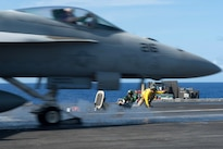 An F/A-18E Super Hornet assigned to Strike Fighter Squadron 14 launches from the USS John C. Stennis flight deck during Rim of the Pacific 2016 in the Pacific Ocean, July 20, 2016. Navy photo by Petty Officer 3rd Class Andre T. Richard