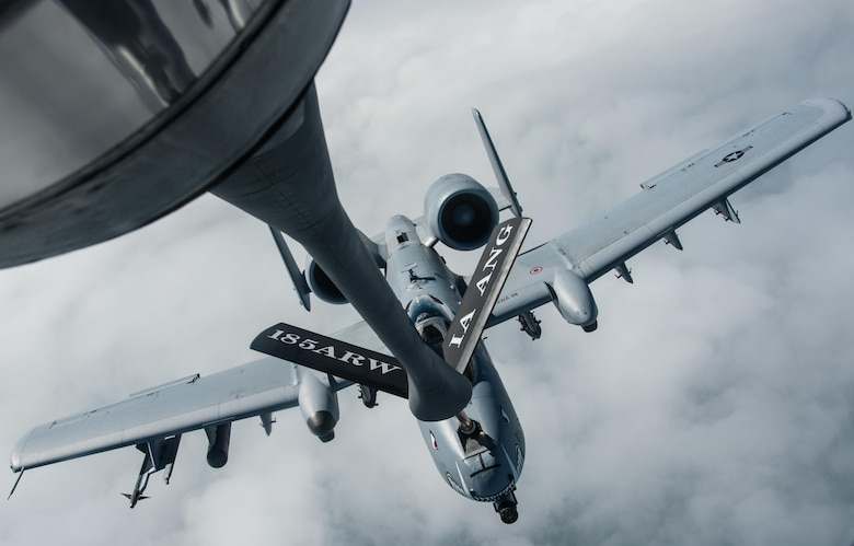 A KC-135 Stratotanker from the 185th Air Refueling Wing, Iowa Air National Guard, refuels an A-10 from the 442nd Fighter Wing, Whiteman Air Force Base, Missouri, during a flying training deployment at Ämari Air Base, Estonia, July 26, 2015. This is the first time personnel and aircraft from the 185th ARW are providing support for an Estonian FTD which allows them to further develop relationships with their NATO allies. (U.S. Air Force photo by Senior Airman Missy Sterling/released)