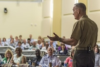Marine Corps Gen. Joe Dunford, chairman of the Joint Chiefs of Staff, addresses participants attending the U.S. Air Force Senior Leadership Course at Joint Base Andrews, Md., July 26, 2016. DoD photo by Navy Petty Officer 2nd Class Dominique A. Pineiro