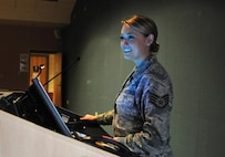 Staff Sgt. Jennifer D. Masters, of the 178th Wing, Ohio Air National Guard, gives a mission brief at Springfield Air National Guard Base in Springfield, Ohio, May 14, 2016. Masters was selected as the ANG's 2016 Outstanding Airman of the Year. (Air National Guard photo/Airman 1st Class Rachel Simones)