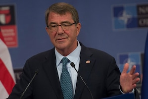Defense Secretary Ash Carter rolled out the Defense Department's second innovation hub, a new office in Boston that joins the technology outpost that he opened in 2015 in Silicon Valley, California, July 26, 2016. Here, Carter speaks with reporters during a news conference at NATO headquarters in Brussels, June 15, 2016. DoD photo by Air Force Senior Master Sgt. Adrian Cadiz
