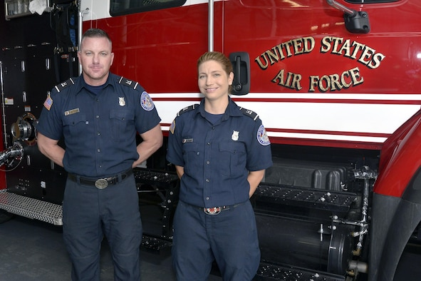 Tommy Disario and Andrea Caraway saved the life of a lightning strike victim at the El Paso County fair July 19. (U.S. Air Force photo by Jason Gutierrez)