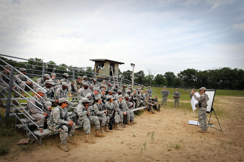 Capt. Devon Stanforth, right, observer-coach/trainer assigned to the 1st Battalion, 383rd Regiment, 181st Infantry Brigade, conducts a class on troop leading procedures to soldiers assigned to the 314th Chemical Company, Decatur, Georgia, at forward operating (training) base Liberty, Fort McCoy, Wisconsin, July 11, 2016. (U.S. Army photo by Mr. Anthony L. Taylor/Released)