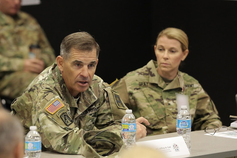 Maj. Gen. Jeffrey Colt, Commanding General, First Army Division West, gives remarks during a morning briefing with all exercise participants, July 12, 2016, at Warrior Exercise 86-16-03, Fort McCoy, Wisconsin. (U.S. Army photo by Mr. Anthony L. Taylor/Released)