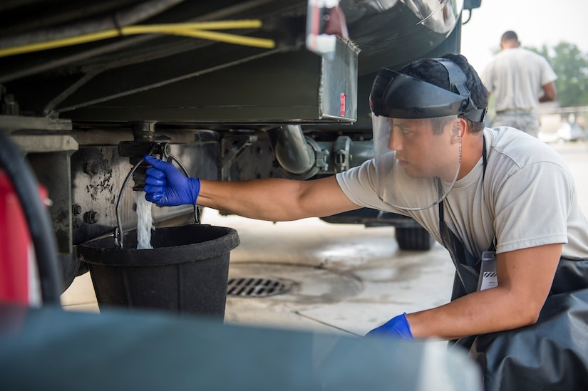 Airman 1st Class Robert Mitchell, 628th Logistic Readiness Squadron fuel distribution operator, opens a fuel valve on an R11 refueler, July 18, 2016, at Joint Base Charleston, S.C. Last year, over 50 Airmen of the 628th LRS fuels flight provided the base with more than 36 million gallons of fuel for missions  throughout the base. (U.S. Air Force photo/Staff Sgt. Jared Trimarchi)