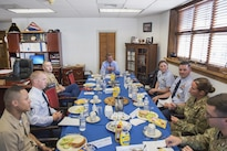 Defense Secretary Ash Carter, center, meets with military recruiters to talk about recruiting challenges in Boston, Mass., July 26, 2016. DoD photo by Air Force Tech. Sgt. Brigitte N. Brantley