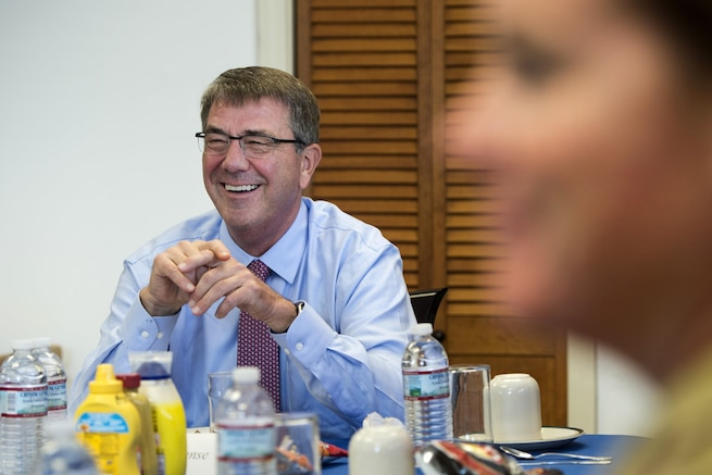 Defense Secretary Ash Carter  discusses recruiting challenges with military recruiters during a visit to Boston, July 26, 2016. DoD photo by Air Force Tech. Sgt. Brigitte N. Brantley