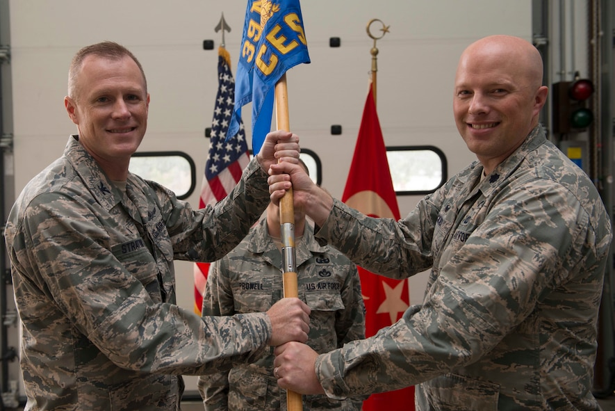 U.S. Air Force Lt. Col. Karl Recksiek, 39th Civil Engineer Squadron outgoing commander, relinquishes command to Col. Todd Stratton, 39th Mission Support Group commander, during a change of command ceremony July 18, 2016, at Incirlik Air Base, Turkey. A change of command ceremony is a tradition that represents a formal transfer of authority and responsibility from the outgoing commander to the incoming commander. (U.S. Air Force photo by Senior Airman John Nieves Camacho)